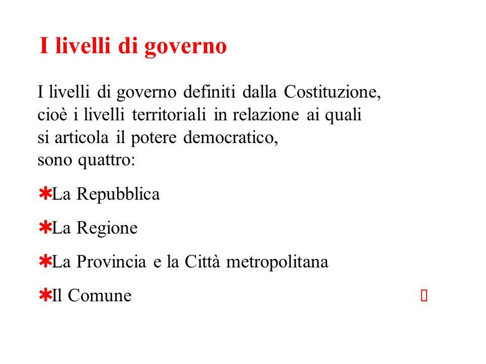 I livelli di governo I livelli di governo definiti dalla Costituzione, cioè i livelli territoriali in relazione ai quali si articola il potere democra