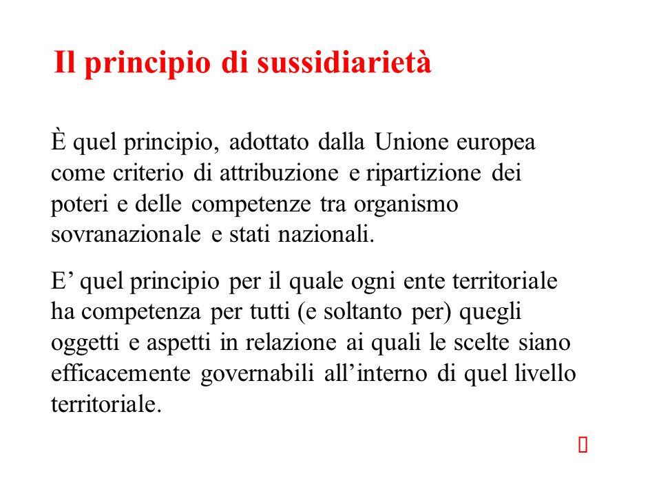 Il principio di sussidiarietà È quel principio, adottato dalla Unione europea come criterio di attribuzione e ripartizione dei poteri e delle competen
