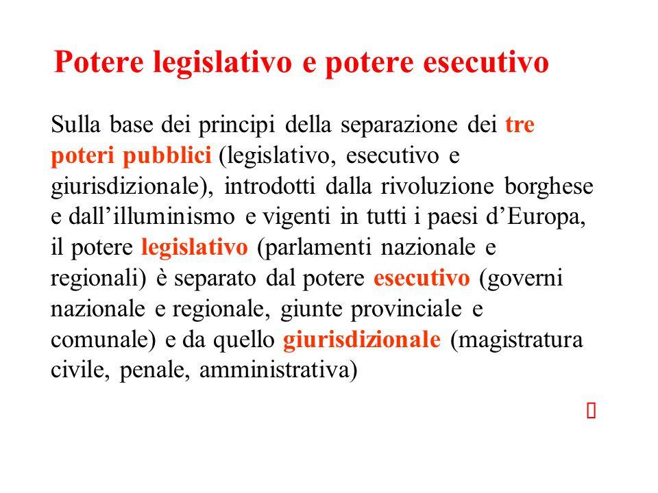 Potere legislativo e potere esecutivo Sulla base dei principi della separazione dei tre poteri pubblici (legislativo, esecutivo e giurisdizionale), in