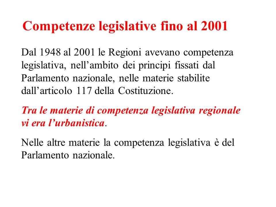 Competenze legislative fino al 2001 Dal 1948 al 2001 le Regioni avevano competenza legislativa, nellambito dei principi fissati dal Parlamento naziona