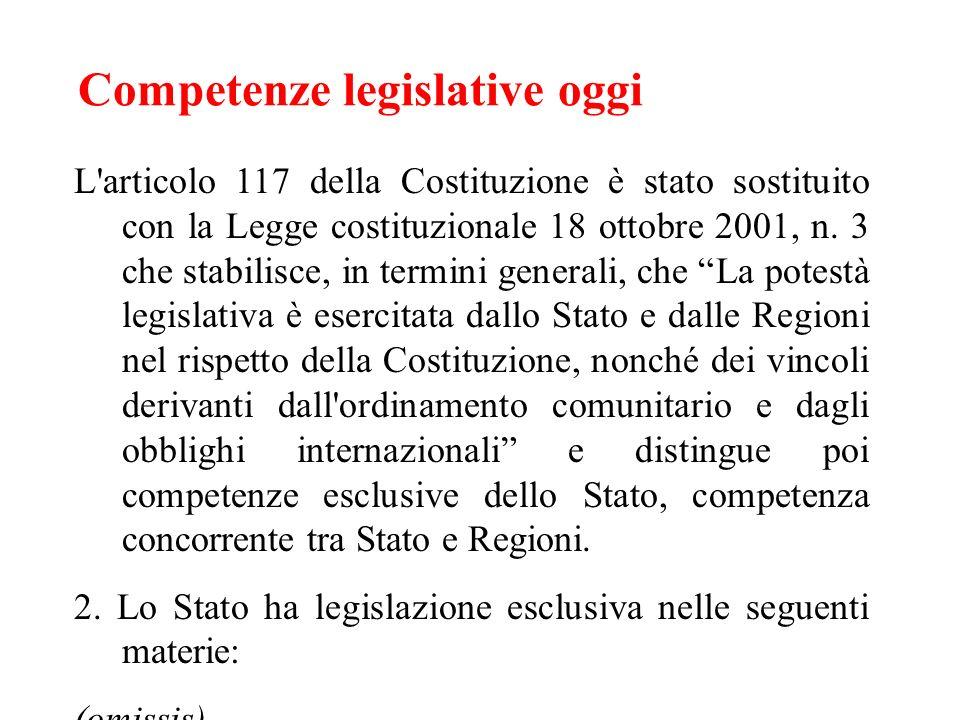 Competenze legislative oggi L'articolo 117 della Costituzione è stato sostituito con la Legge costituzionale 18 ottobre 2001, n. 3 che stabilisce, in