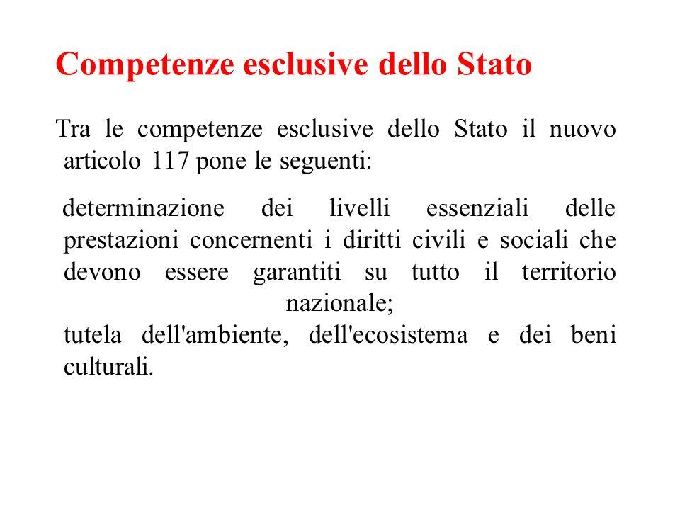 Competenze esclusive dello Stato Tra le competenze esclusive dello Stato il nuovo articolo 117 pone le seguenti: determinazione dei livelli essenziali