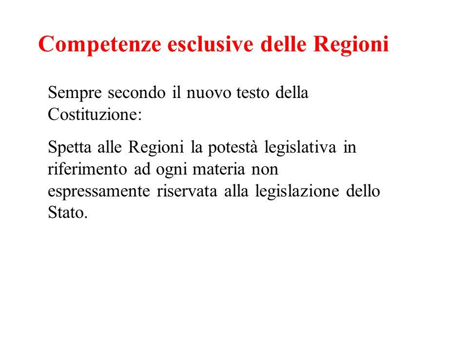 Competenze esclusive delle Regioni Sempre secondo il nuovo testo della Costituzione: Spetta alle Regioni la potestà legislativa in riferimento ad ogni
