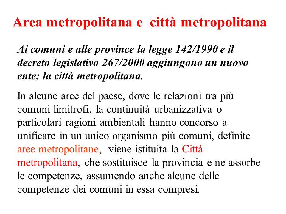 Area metropolitana e città metropolitana Ai comuni e alle province la legge 142/1990 e il decreto legislativo 267/2000 aggiungono un nuovo ente: la ci