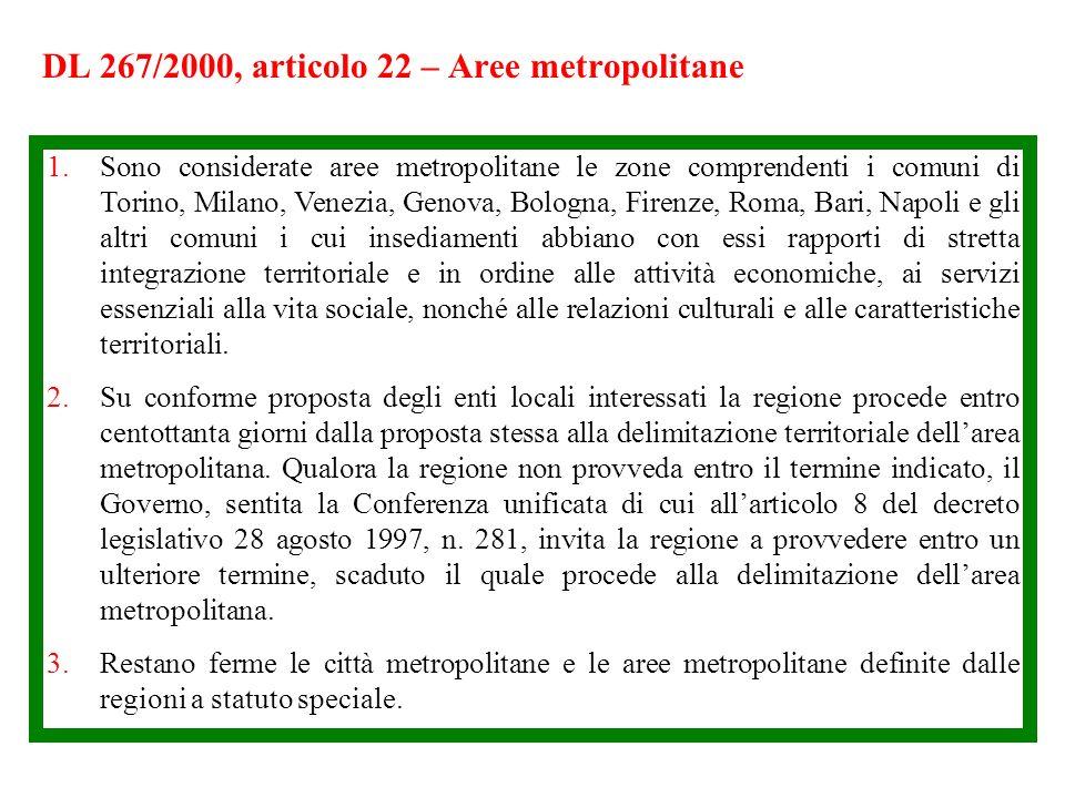 DL 267/2000, articolo 22 – Aree metropolitane 1.Sono considerate aree metropolitane le zone comprendenti i comuni di Torino, Milano, Venezia, Genova,
