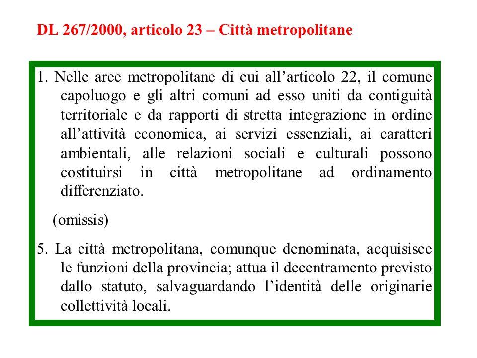 DL 267/2000, articolo 23 – Città metropolitane 1. Nelle aree metropolitane di cui allarticolo 22, il comune capoluogo e gli altri comuni ad esso uniti