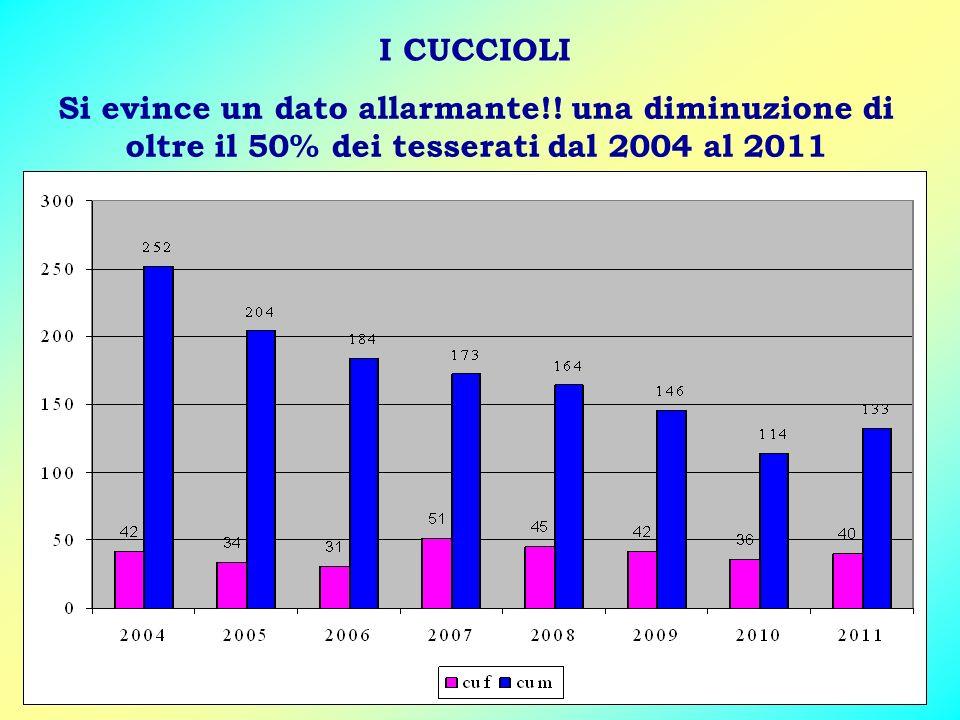 I CUCCIOLI Si evince un dato allarmante!! una diminuzione di oltre il 50% dei tesserati dal 2004 al 2011