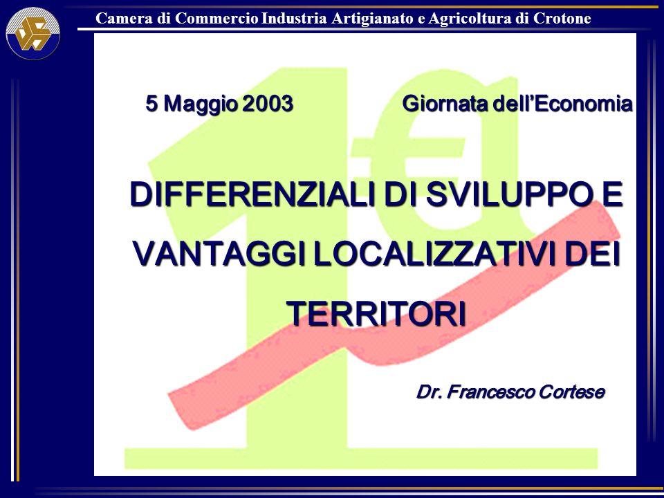 Camera di Commercio Industria Artigianato e Agricoltura di Crotone 5 Maggio 2003 Giornata dellEconomia 5 Maggio 2003 Giornata dellEconomia DIFFERENZIALI DI SVILUPPO E VANTAGGI LOCALIZZATIVI DEI TERRITORI Dr.