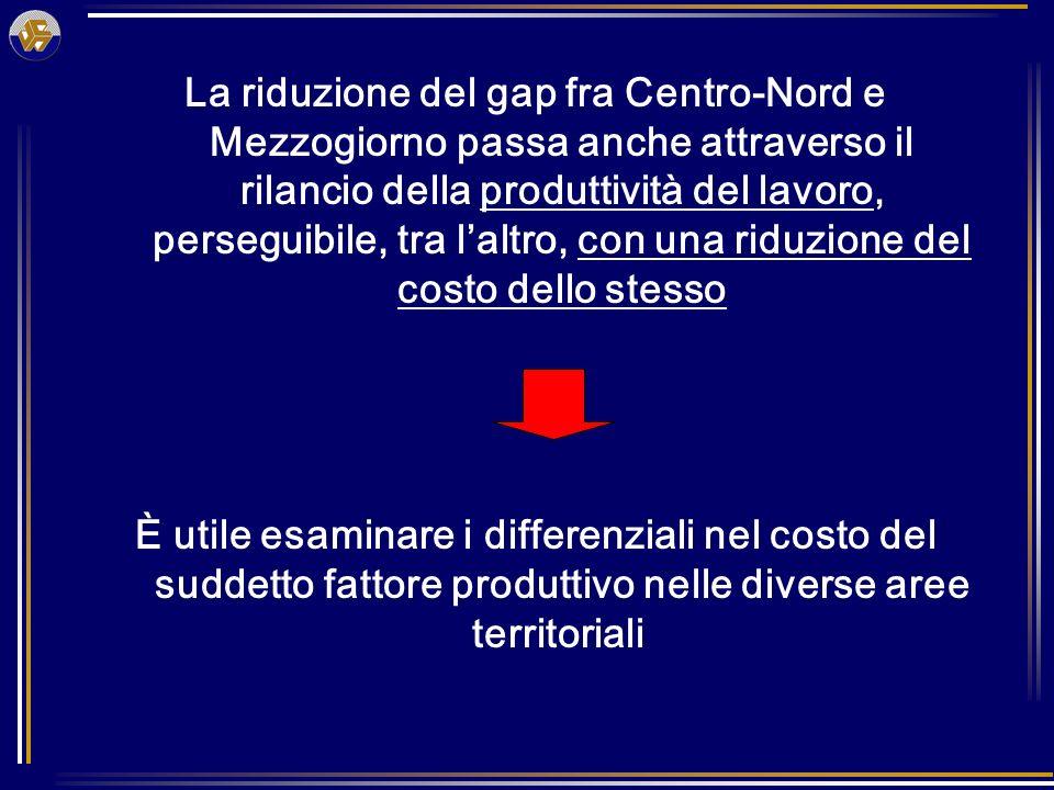 La riduzione del gap fra Centro-Nord e Mezzogiorno passa anche attraverso il rilancio della produttività del lavoro, perseguibile, tra laltro, con una riduzione del costo dello stesso È utile esaminare i differenziali nel costo del suddetto fattore produttivo nelle diverse aree territoriali