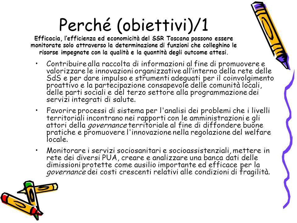 Perché (obiettivi)/2 Efficacia, lefficienza ed economicità del SSR Toscana possono essere monitorate solo attraverso la determinazione di funzioni che colleghino le risorse impegnate con la qualità e la quantità degli outcome attesi.