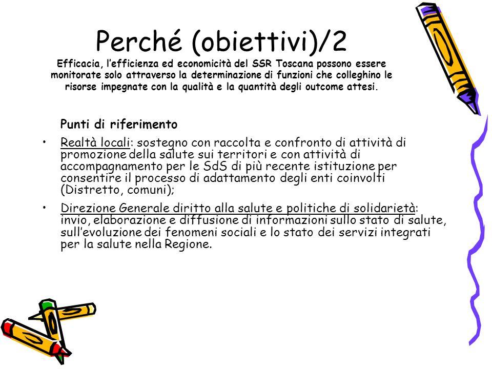 Perché (obiettivi)/2 Efficacia, lefficienza ed economicità del SSR Toscana possono essere monitorate solo attraverso la determinazione di funzioni che