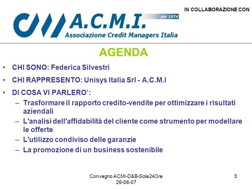Convegno ACMI-D&B-Sole24Ore 26-06-07 3 IN COLLABORAZIONE CON AGENDA CHI SONO: Federica Silvestri CHI RAPPRESENTO: Unisys Italia Srl - A.C.M.I DI COSA