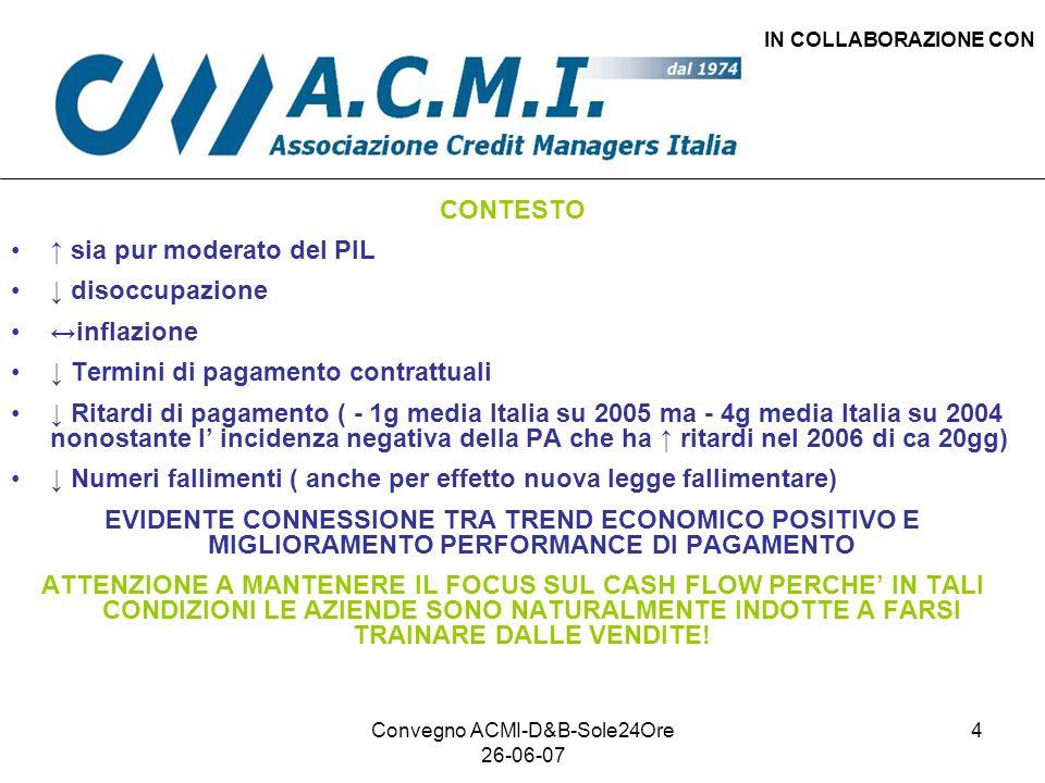 Convegno ACMI-D&B-Sole24Ore 26-06-07 4 IN COLLABORAZIONE CON CONTESTO sia pur moderato del PIL disoccupazione inflazione Termini di pagamento contratt