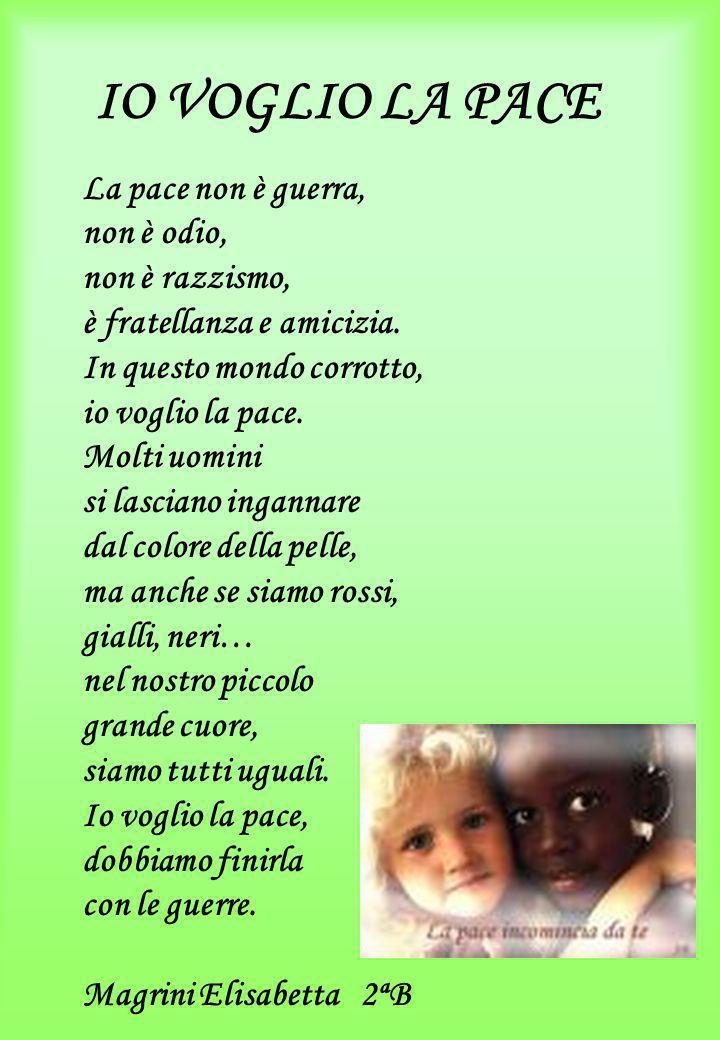 IO VOGLIO LA PACE La pace non è guerra, non è odio, non è razzismo, è fratellanza e amicizia. In questo mondo corrotto, io voglio la pace. Molti uomin