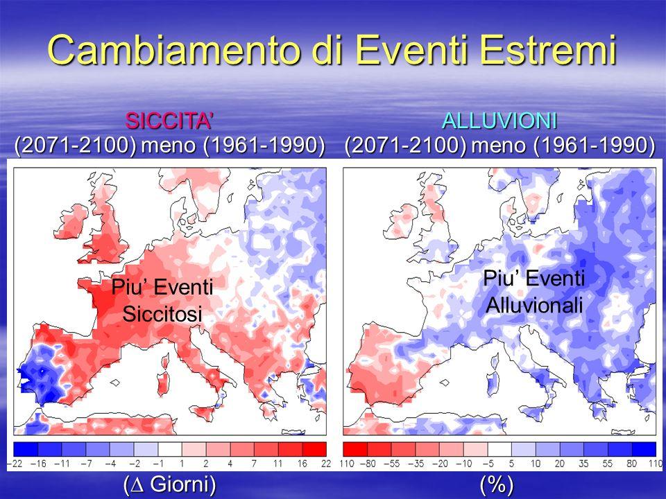 Cambiamento di Eventi Estremi (%) ( Giorni) SICCITA (2071-2100) meno (1961-1990) ALLUVIONI Piu Eventi Siccitosi Piu Eventi Alluvionali