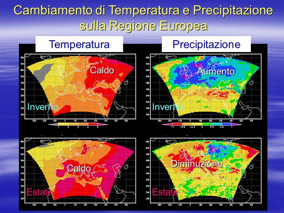 TemperaturaPrecipitazione Cambiamento di Temperatura e Precipitazione sulla Regione Europea Inverno Estate Inverno Estate Caldo Caldo Aumento Diminuzione