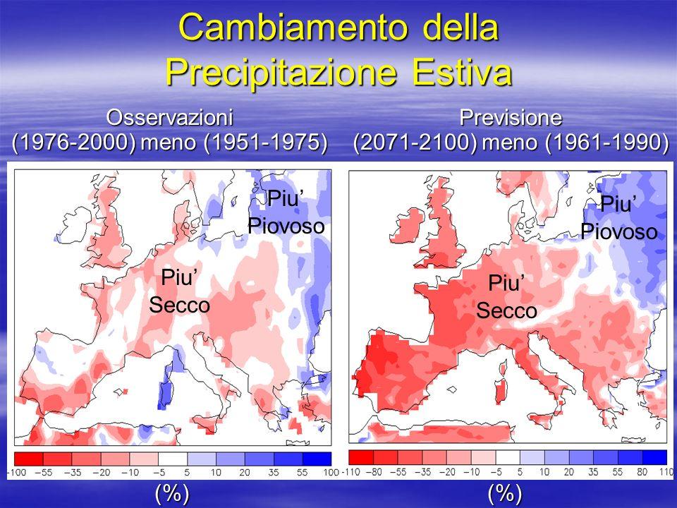 Cambiamento della Precipitazione Estiva Previsione (2071-2100) meno (1961-1990) (%)(%) Osservazioni (1976-2000) meno (1951-1975) Piu Secco Piu Secco Piu Piovoso Piu Piovoso