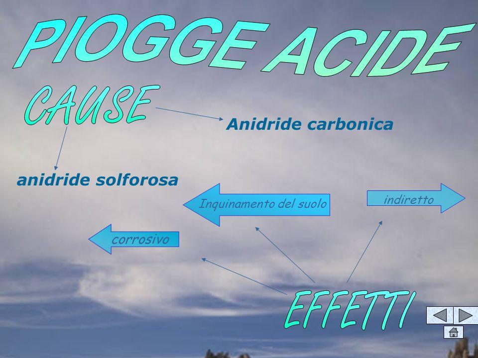 anidride solforosa Anidride carbonica corrosivo indiretto Inquinamento del suolo