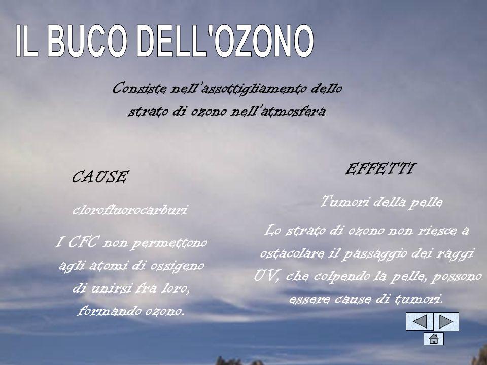 Consiste nellassottigliamento dello strato di ozono nellatmosfera CAUSE EFFETTI clorofluorocarburi Tumori della pelle I CFC non permettono agli atomi di ossigeno di unirsi fra loro, formando ozono.