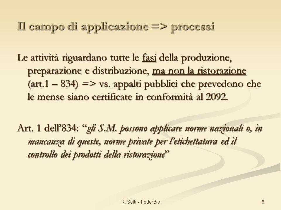 6R. Setti - FederBio Il campo di applicazione => processi Le attività riguardano tutte le fasi della produzione, preparazione e distribuzione, ma non