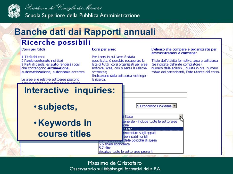 Banche dati dai Rapporti annuali Interactive inquiries: subjects, Keywords in course titles Interactive inquiries: subjects, Keywords in course titles