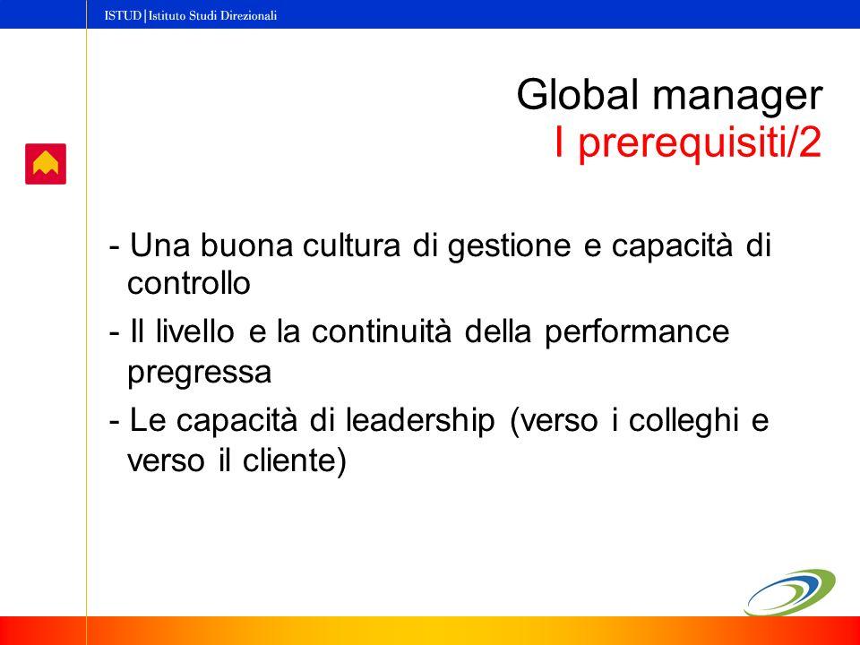 - Una buona cultura di gestione e capacità di controllo - Il livello e la continuità della performance pregressa - Le capacità di leadership (verso i colleghi e verso il cliente) Global manager I prerequisiti/2