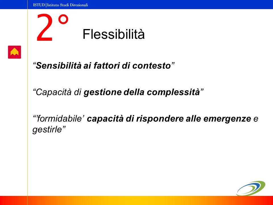 Flessibilità Sensibilità ai fattori di contesto Capacità di gestione della complessità formidabile capacità di rispondere alle emergenze e gestirle 2°