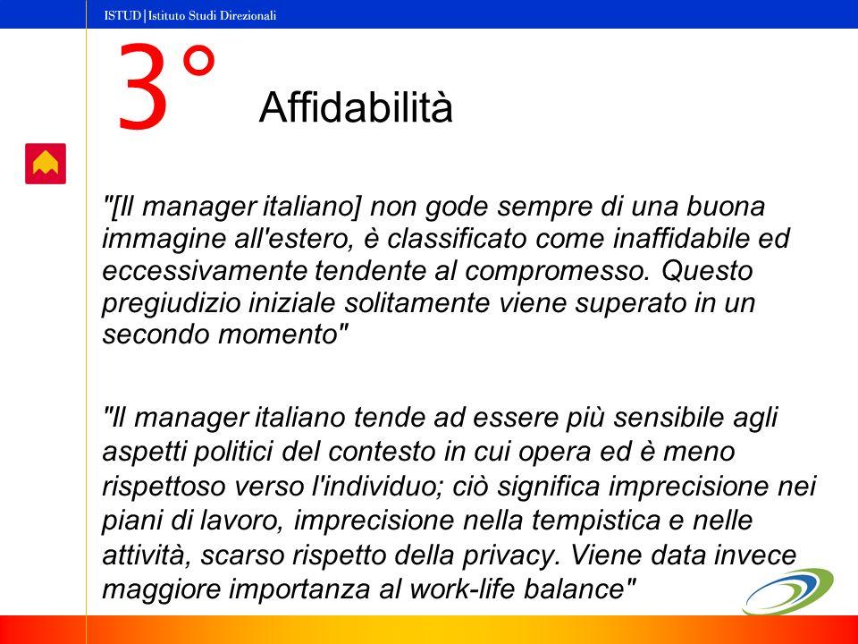 [Il manager italiano] non gode sempre di una buona immagine all estero, è classificato come inaffidabile ed eccessivamente tendente al compromesso.