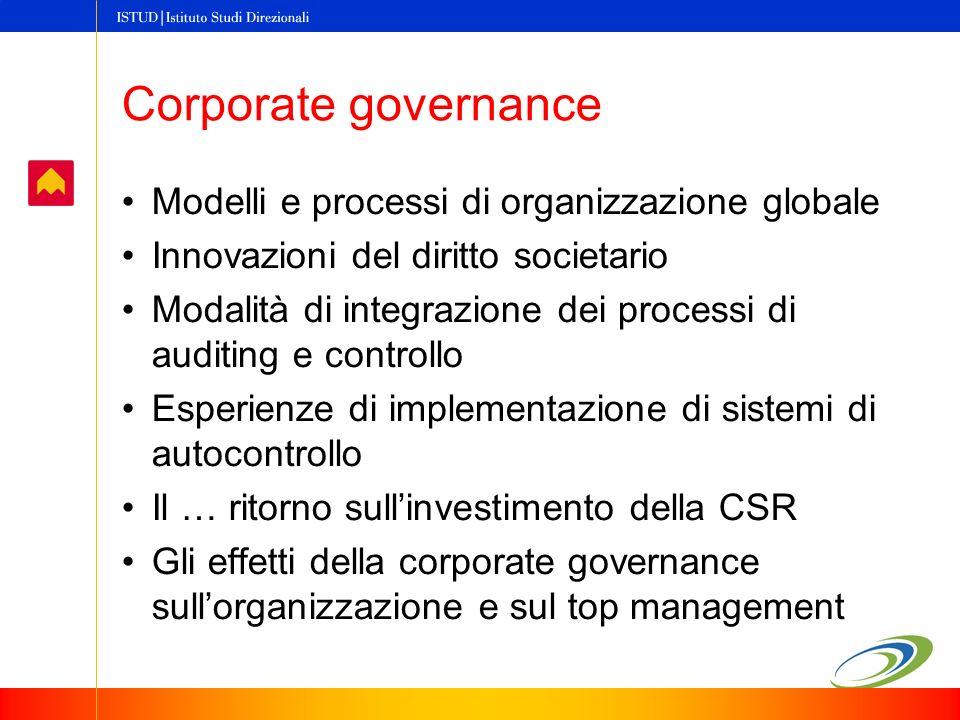 Corporate governance Modelli e processi di organizzazione globale Innovazioni del diritto societario Modalità di integrazione dei processi di auditing e controllo Esperienze di implementazione di sistemi di autocontrollo Il … ritorno sullinvestimento della CSR Gli effetti della corporate governance sullorganizzazione e sul top management