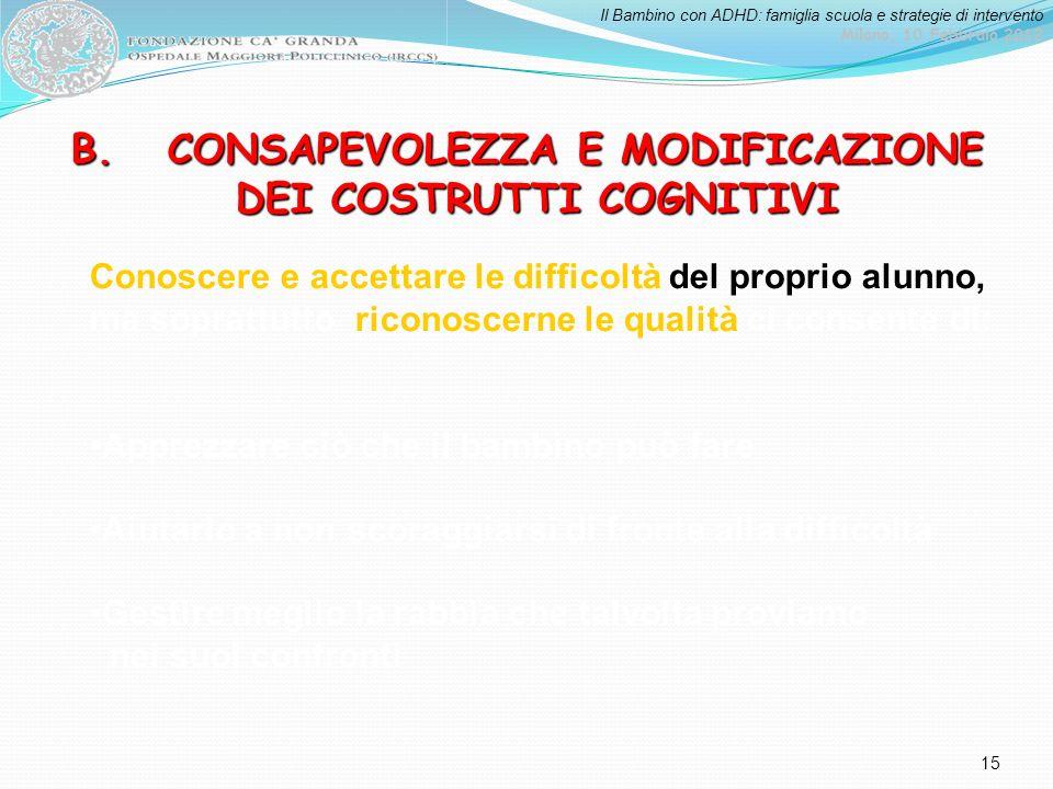 Il Bambino con ADHD: famiglia scuola e strategie di intervento Milano, 10 Febbraio 2012 15 Conoscere e accettare le difficoltà del proprio alunno, ma