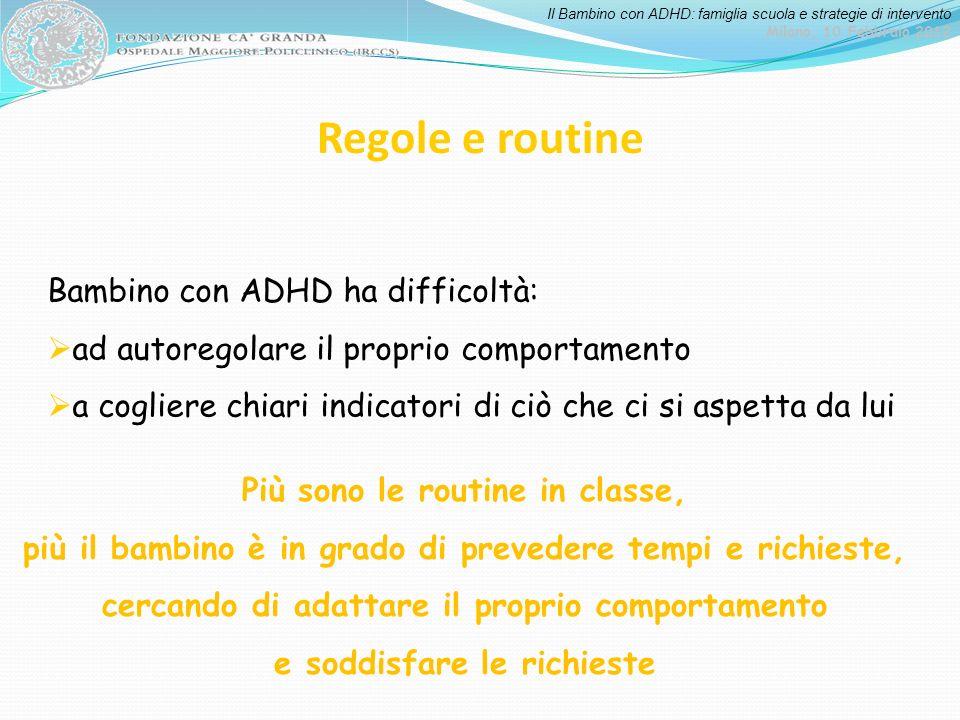 Il Bambino con ADHD: famiglia scuola e strategie di intervento Milano, 10 Febbraio 2012 Regole e routine Bambino con ADHD ha difficoltà: ad autoregola