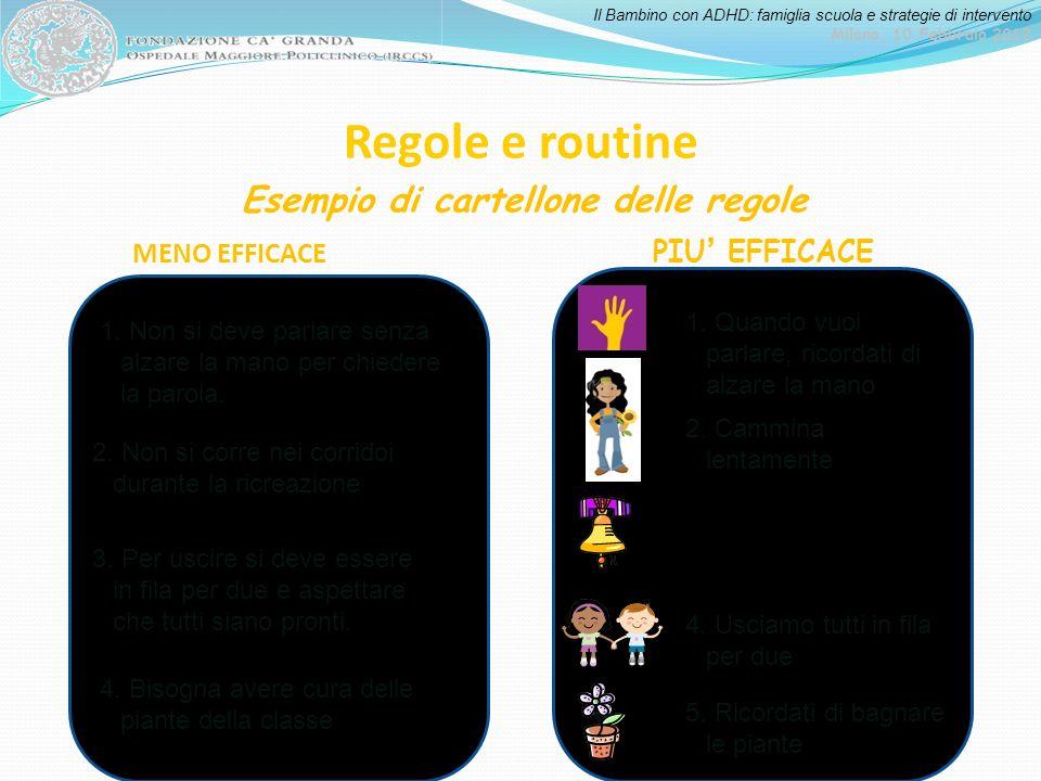 Il Bambino con ADHD: famiglia scuola e strategie di intervento Milano, 10 Febbraio 2012 Regole e routine Esempio di cartellone delle regole 1. Non si