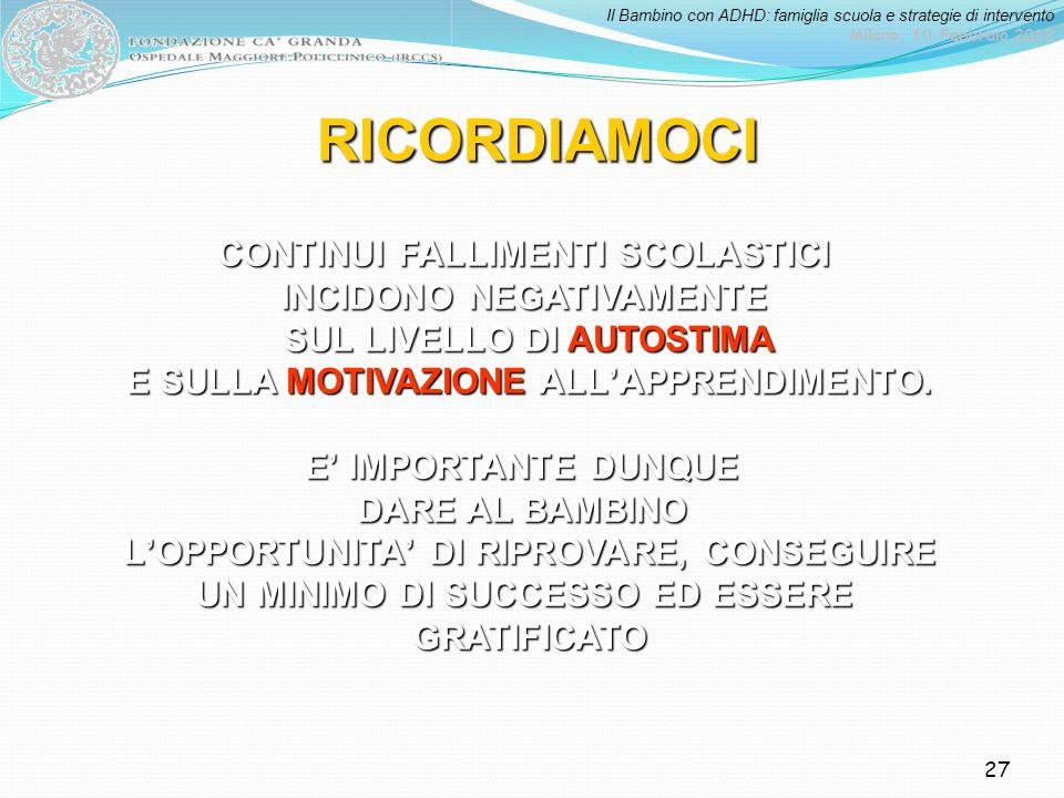 Il Bambino con ADHD: famiglia scuola e strategie di intervento Milano, 10 Febbraio 2012 27 RICORDIAMOCI CONTINUI FALLIMENTI SCOLASTICI INCIDONO NEGATI