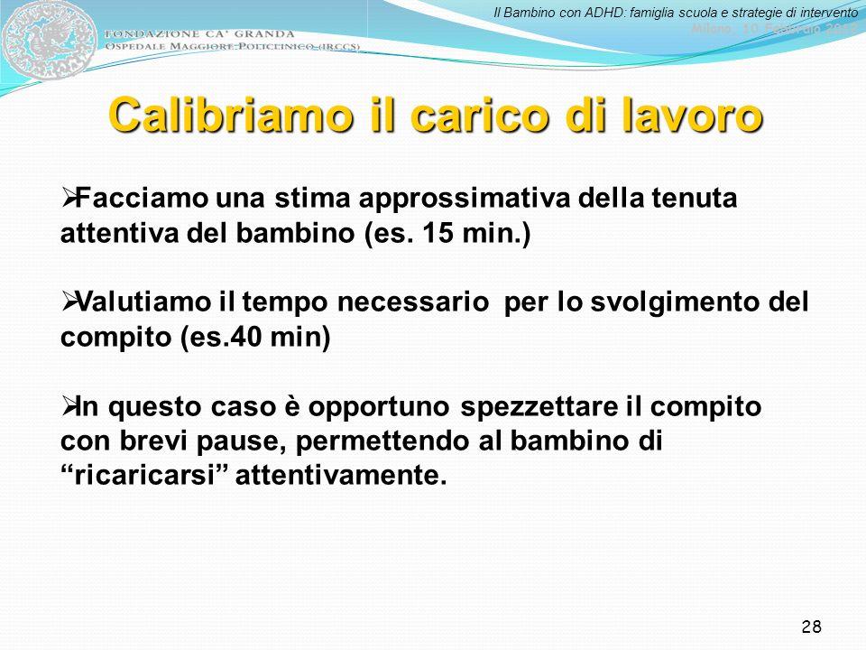 Il Bambino con ADHD: famiglia scuola e strategie di intervento Milano, 10 Febbraio 2012 28 Calibriamo il carico di lavoro Facciamo una stima approssim