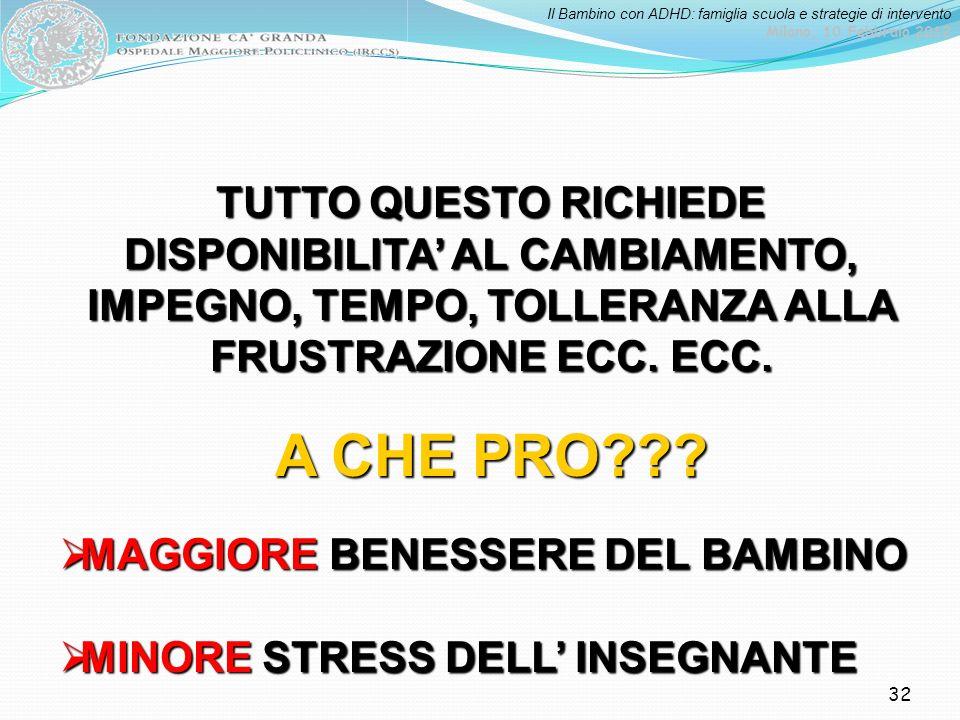 Il Bambino con ADHD: famiglia scuola e strategie di intervento Milano, 10 Febbraio 2012 32 TUTTO QUESTO RICHIEDE DISPONIBILITA AL CAMBIAMENTO, IMPEGNO