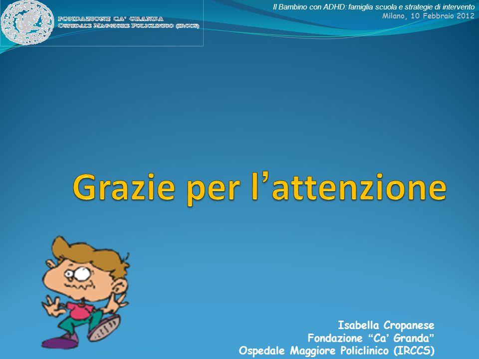 Il Bambino con ADHD: famiglia scuola e strategie di intervento Milano, 10 Febbraio 2012 Isabella Cropanese Fondazione Ca Granda Ospedale Maggiore Poli
