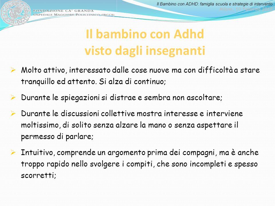 Il Bambino con ADHD: famiglia scuola e strategie di intervento Milano, 10 Febbraio 2012 Il bambino con Adhd visto dagli insegnanti Molto attivo, inter