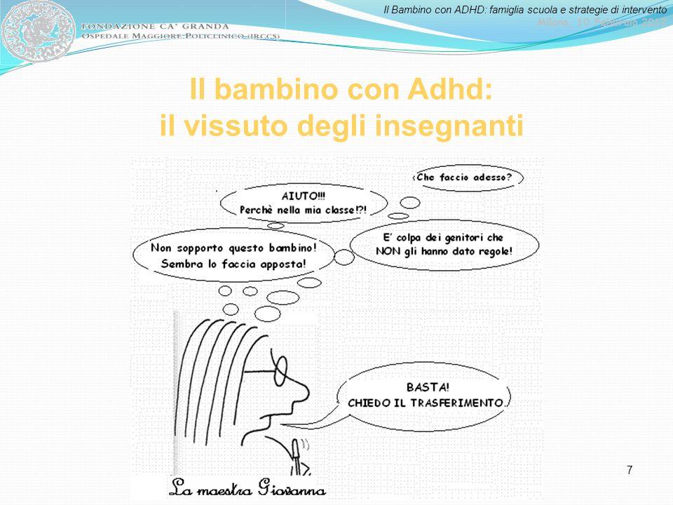 Il Bambino con ADHD: famiglia scuola e strategie di intervento Milano, 10 Febbraio 2012 8 Che altre alternative ha la maestra Giovanna.