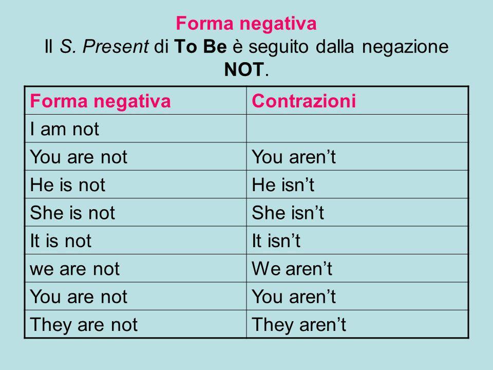 Forma negativa Il S. Present di To Be è seguito dalla negazione NOT. Forma negativaContrazioni I am not You are notYou arent He is notHe isnt She is n