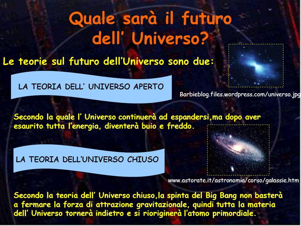 Quale sarà il futuro dell Universo? Le teorie sul futuro dellUniverso sono due: LA TEORIA DELL UNIVERSO APERTO Secondo la quale l Universo continuerà