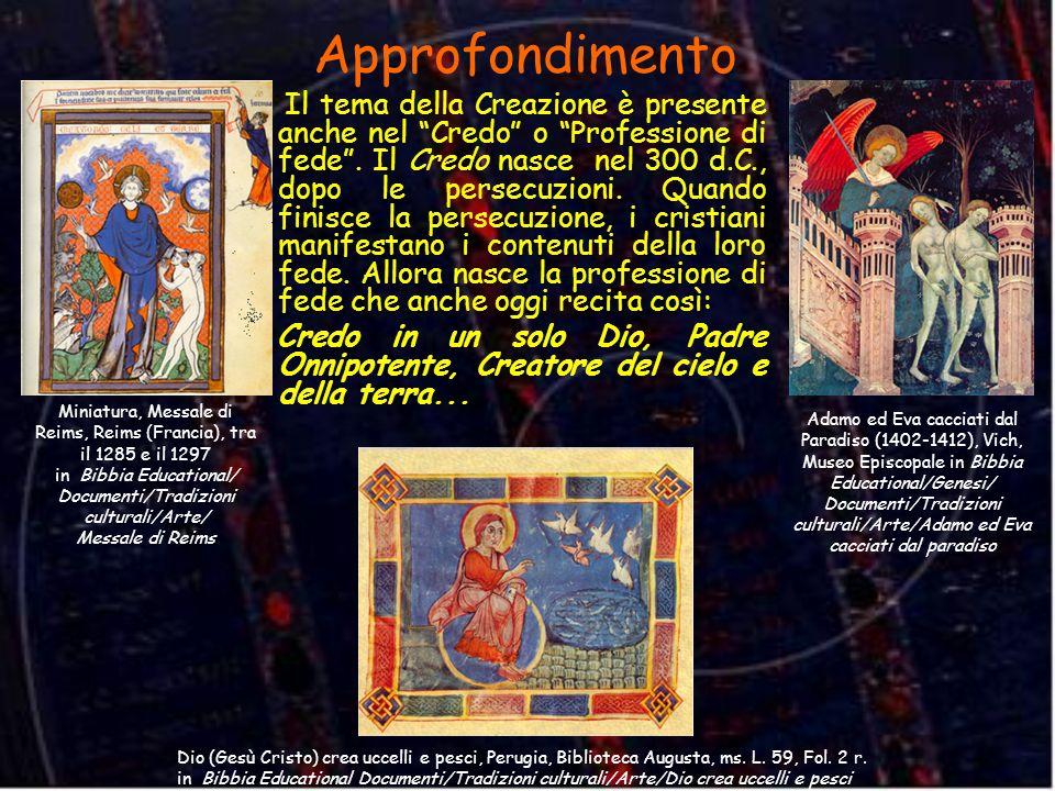 Dio (Gesù Cristo) crea uccelli e pesci, Perugia, Biblioteca Augusta, ms. L. 59, Fol. 2 r. in Bibbia Educational Documenti/Tradizioni culturali/Arte/Di
