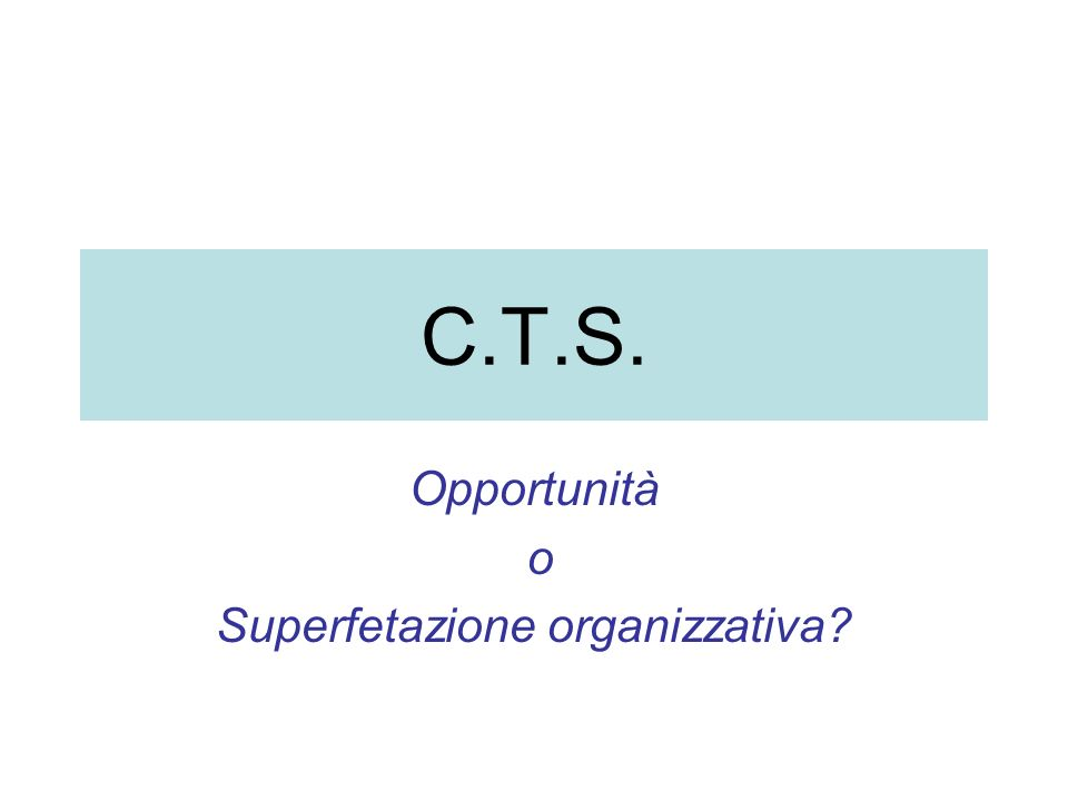 C.T.S. Opportunità o Superfetazione organizzativa