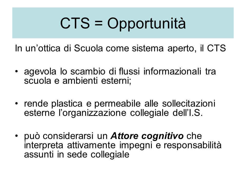 CTS = Opportunità In unottica di Scuola come sistema aperto, il CTS agevola lo scambio di flussi informazionali tra scuola e ambienti esterni; rende plastica e permeabile alle sollecitazioni esterne lorganizzazione collegiale dellI.S.