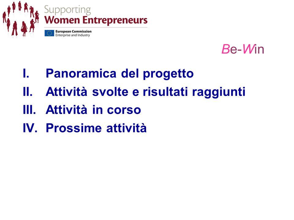 Be-Win I.Panoramica del progetto II.Attività svolte e risultati raggiunti III.Attività in corso IV.Prossime attività