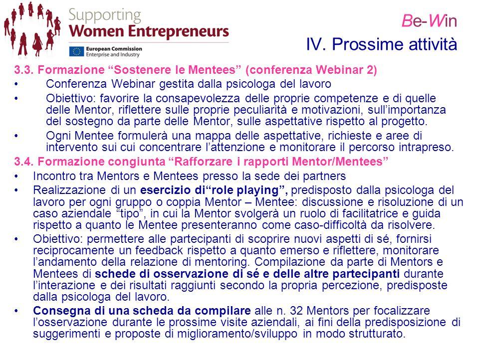 Be-Win IV. Prossime attività 3.3. Formazione Sostenere le Mentees (conferenza Webinar 2) Conferenza Webinar gestita dalla psicologa del lavoro Obietti