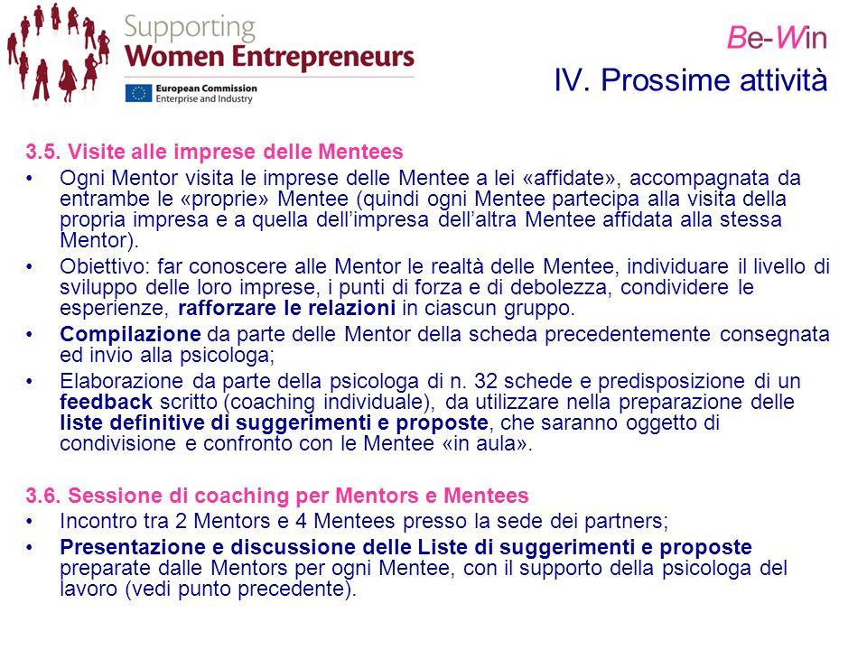Be-Win IV. Prossime attività 3.5. Visite alle imprese delle Mentees Ogni Mentor visita le imprese delle Mentee a lei «affidate», accompagnata da entra