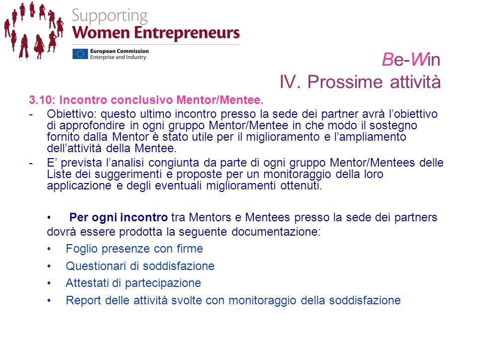 Be-Win IV. Prossime attività 3.10: Incontro conclusivo Mentor/Mentee.
