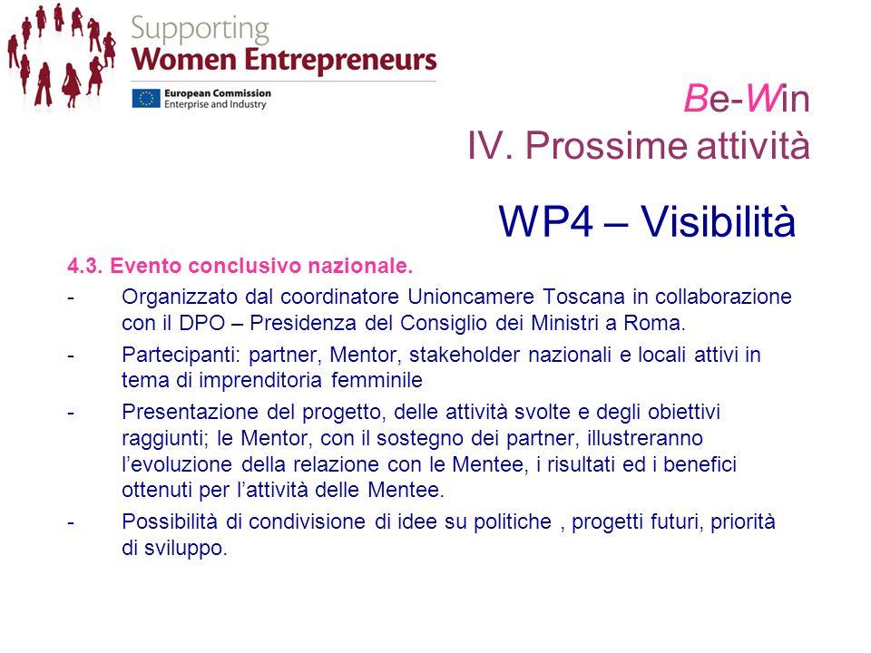 Be-Win IV. Prossime attività WP4 – Visibilità 4.3. Evento conclusivo nazionale. -Organizzato dal coordinatore Unioncamere Toscana in collaborazione co