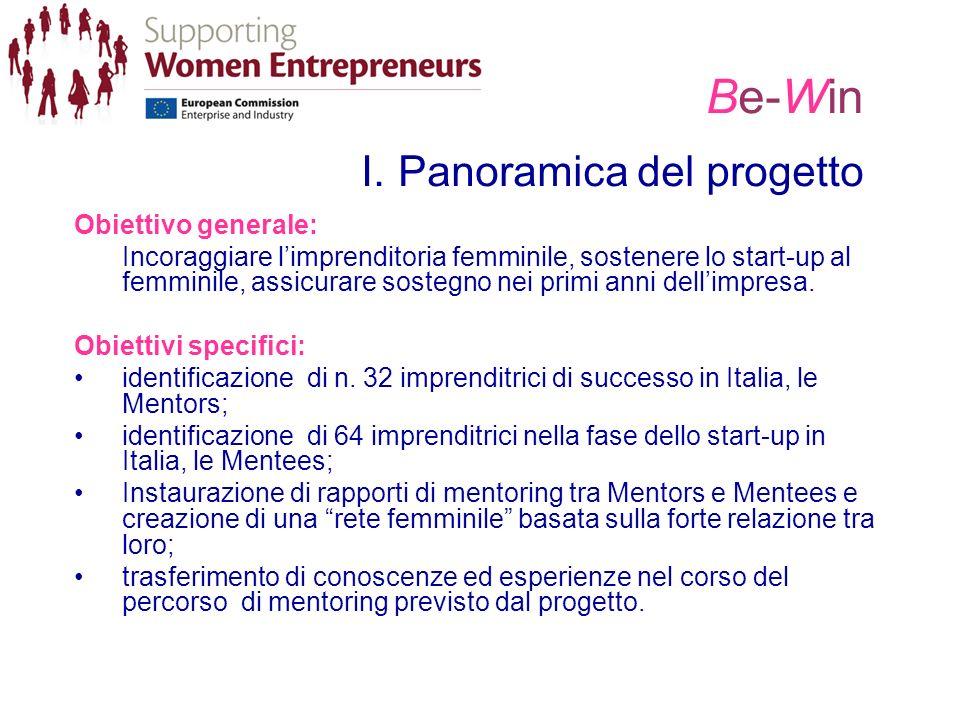 Be-Win I. Panoramica del progetto Obiettivo generale: Incoraggiare limprenditoria femminile, sostenere lo start-up al femminile, assicurare sostegno n