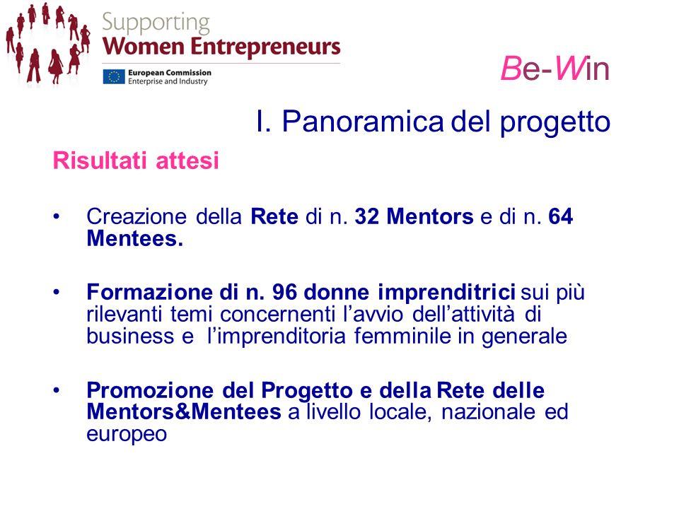 Be-Win I. Panoramica del progetto Risultati attesi Creazione della Rete di n. 32 Mentors e di n. 64 Mentees. Formazione di n. 96 donne imprenditrici s